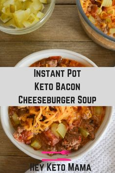 This Keto Bacon Cheeseburger Soup will be a weekly staple in your house, especially in the colder months! This burger that you slurp from a spoon is comforting, cheesy, and doesn't miss a single flavor from the classic handheld version. Crockpot Recipes, Soup Recipes, Diet Recipes, Healthy Recipes, Recipes Dinner, Zoodle Recipes, Party Recipes, Cake Recipes, Diet Meals