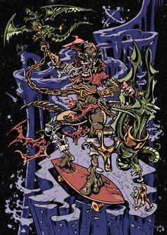 SKATE OR DIE- Daniele Pasquetti (mail: danielepasquetti1@gmail.com) #skate #wizard #dragon #fantasy #space #skateboard #torture #chain