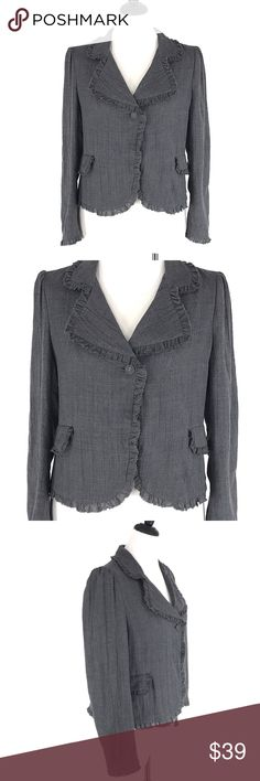 """PURE DKNY Gray WoolCareerJacket Blazer Ruffle PURE DKNY Gray Wool Career Jacket Blazer Ruffle Trim Light Weight SIZE: Woman's size 10  CONDITION: Very good preowned condition with normal signs of light use. No major flaws or imperfections. No stains, holes or heavy wear. May show light signs of wash and wear. All wear is typical of a gently worn preowned item. Please see all photos as a visual description of the item.  APPROXIMATE MEASUREMENTS:  CHEST: 21"""" SHOULDER TO SHOULDER: 16""""  SLEEVE…"""