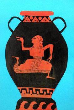 6th grade - Greek Vase - Butcher paper painted red-orange, drawn with Sharpies