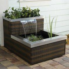 Mini pond balcony rattan design waterfall modern balcony decor ideas