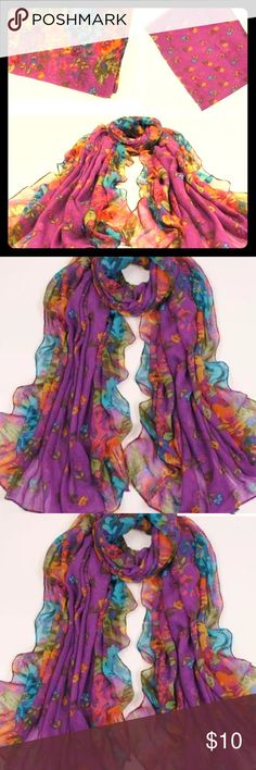 ‍Flawless purple floral scarf women This gorgeous purple floral scarf would be good for any woman or child. It can be used as a shuttle or a scarf. Well the part I can cover you. Beautiful and flawless in length. Colors include green red yellow orange. Accessories Scarves & Wraps