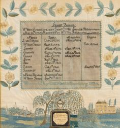 Silk Embroidered Family Record and Mourning Picture; Sacred to the memory of William J Goulding, Wrought by Elizabeth Goulding, Worcester, Massachusetts<br>Dated 1820 | Lot | Sotheby's