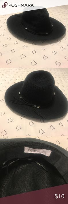 Hat Black hat with suede-like band with silver beads. BCBGeneration Accessories Hats