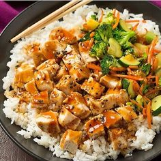 😍 Teriyaki Grilled Chicken and Veggie Rice Bowls - Yield: 4 servings Ingredients Teriyaki sauce 1/2 cup low-sodium soy sauce 1/2 cup water 3 Tbsp packed light-brown sugar 3 Tbsp honey 3 cloves garlic, minced (1 Tbsp) 1 Tbsp minced ginger 1 Tbsp rice vinegar 1 1/2 Tbsp cornstarch Chicken, veggies and rice 3 1/2 Tbsp olive oil, divided, plus more for brushing grill 1 1/2 lbs bonless skinless chicken breasts Ground black pepper 1 medium zucchini, diced into half moons and quartered (1 1/2…