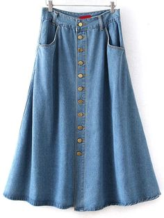 Fashionable Single-Breasted Bleach Wash Denim Skirt For Women Long A Line Skirt, A Line Denim Skirt, Blue Denim Skirt, Denim Skirts, Jean Skirts, Blue Skirts, Long Skirts, Fashion Wear, Fashion Dresses