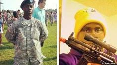 Two pictures of the same person, one in a smart army uniform, another pretending to be a gangster holding a toy gun.