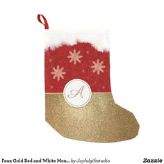 Faux Gold Red and White Monogram Small Christmas Stocking