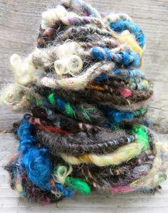 Handspun Yarn Art Yarn Lockspun Textured Wool by RainbowTwistShop