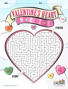 Checkout this free Valentine's Day maze in the shape of a heart for the kiddos! Download it for free over at TpT.