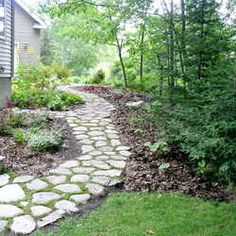 moss stone path would work very well in my backyard. moss stone path would work very well in my back Sloped Backyard Landscaping, Sloped Yard, Landscaping Images, Cobblestone Walkway, Front Yard Decor, Garden Paths, Garden Inspiration, Outdoor Decor, Outdoor Ideas