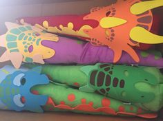 Dinosaur tails and dinosaur masks for a fun Dinosaur birthday party!