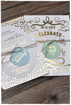 Gold Foil Invitations with Hang Tags!