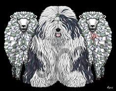 Old english sheepdog by SiberianArt on Etsy, $35.00