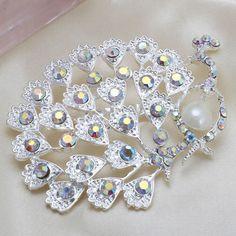 Fashion Hot Sale Silver Peacock Rhinestone Women Wedding Brooch Pins[US$2.33]