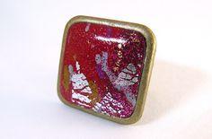 Bague carrée réglable en métal couleur bronze et pâte polymère : Bague par commeilvousplaira
