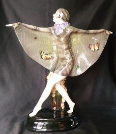 Exceptional Art Deco Lorenzl Goldscheider Wein SUPERB Spiderweb Butterfly Girl  | Antiques, Periods & Styles, Art Deco | eBay!