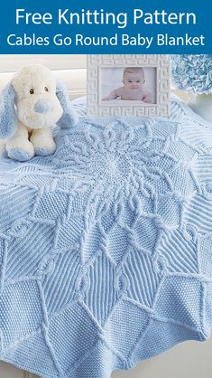 Free Knitting Pattern for Cables Go Round Baby Blanket - Circle-shaped baby blanket knit in the round with cable petals that make it look like a flower Size 41 104 cm Written instructions Designed by Mary Maxim Worsted weight yarn Blue Baby Blanket, Easy Baby Blanket, Knitted Baby Blankets, Baby Blanket Crochet, Knitted Shawls, Crochet Baby, Drops Baby, Free Baby Blanket Patterns, Baby Knitting Patterns Free Cardigan