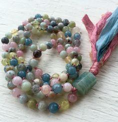 Natural Aquamarine Mala Beads Beryl Heliodor and Morganite