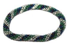 Glass Bracelet Nepal Bracelet Roll on Bracelet Crochet Bracelet Glass Bead Bracelet Friendship Bracelet 332