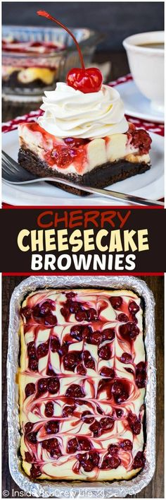 Cherry Cheesecake Brownies - swirls of pie filling and cheesecake on a gooey brownie crust makes an impressive dessert. Easy recipe for dinner parties!