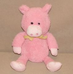 "Animal Adventure Pink Pig Purple Yellow Gingham Bow Plush 10"" Toy 2015 L5804 #AnimalAdventure"