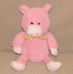 "Animal Adventure Pink Pig Purple Yellow Gingham Bow Plush 10"" Toy 2015 L5804 #AnimalAdventure"