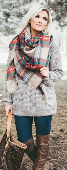 #winter #fashion /  Printed Scarf / Grey Knit / Navy Skinny Jeans