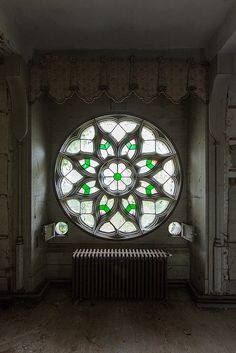 Stained glass in an abandoned (and recently destroyed by fire) chateau in France, by Le Luxographe