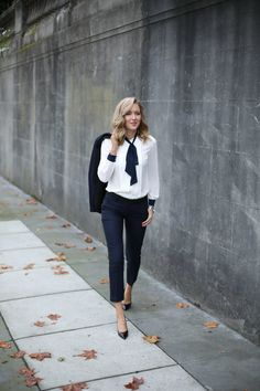 Neck tie blouse + Ankle length pant + Blazer - Job Interview Outfit