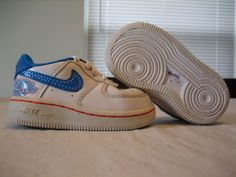 Baby Boys Nike House AF1 White Blue & Red Shoes Size 4C $17.88