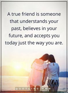 friendship quotes A true friend is someone that understands your past, believes in your future, and accepts you today just the way you are.