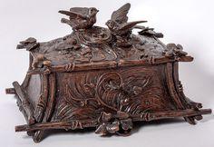 Antique Hand Carved Black Forest Birds & Nest Woodland Casket