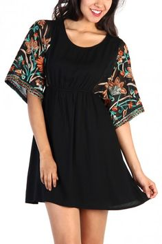 LoveMelrose.com From Harry & Molly | Floral Sleeve Dress - Black