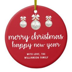 Merry Christmas Happy New Year Red Ceramic Ornament - elegant gifts classic stylish gift idea diy style