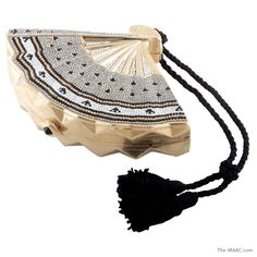 "Judith Leiber fan shaped minaudiere in grey, black, and clear rhinestones, American, 1980s. Length: 7-1/2""  Height: 5""  The MAAC Holiday Collection  http://the-maac.com/treasures-pleasures?id=67&tid=3248"