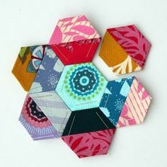Use half square triangle scraps from one project to make hexes for another.