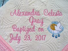 Personalized quilt baptismal quilt christening quilt baby quilt personalized baby quilt personalized quilt baptismal quilt christening quilt baby quilt negle Image collections