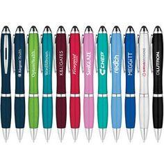 Metallic curvaceous stylus ballpoint pen