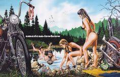 David Mann Motorcycle Easyriders Art Print Poster Beach SKINNY DIPPIN'   Art, Art Prints   eBay!