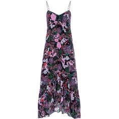 Saloni - Inga Floral Slip Midi Dress (£460) ❤ liked on Polyvore featuring dresses, layered dress, asymmetrical dress, floral slip dress, floral print dress and midi slip dress