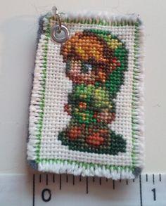 legend of zelda cross stitch patterns | Legend of Zelda Link cross stitch pendant