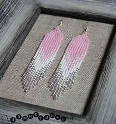 Long earrings Beaded earrings native earrings seed bead