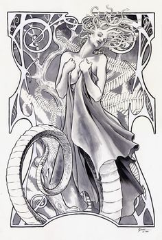 Christmas Medusa by Daniel Govar Fantasy Myth Mythical Mystical Legend Elf Elves Sword Sorcery Magic Witch Wizard Sorceress Demon Dark Gothic Goth Demoness Darkness Castle Dungeon Realm Dreamscapes Coloring pages colouring adult detailed advanced printable Kleuren voor volwassenen coloriage pour adulte anti-stress kleurplaat voor volwassenen Line Art Black and White