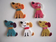 5 Cute crochet applique little smiling dogs, to repair or to decorate. Crochet Crafts, Crochet Dolls, Yarn Crafts, Crochet Projects, Appliques Au Crochet, Crochet Motif, Crochet Designs, Applique Designs, Crochet Video