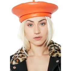 Orange Leather Beret (610 MXN) ❤ liked on Polyvore featuring accessories, hats, leather military hat, leather beret, military beret hat, military hats and leather hat