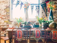Throw a Varsity-Inspired, Schoolhouse Chic-Party packed with school spirit using vintage athletic gear, memorabilia and simple school supplies >> http://www.diynetwork.com/decorating/how-to-throw-a-varsity-inspired-schoolhouse-chic-party/pictures/index.html?soc=pinterest