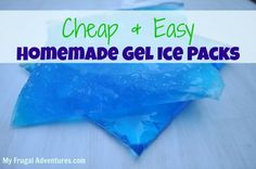 Homemade gel ice packs  Pack 1 - Put 1 part alcohol to 2 parts water into a ziploc and seal.  Put in freezer and use.  Alcohol won't freeze.  Pack 2 -  Put your dishwashing soap into a ziploc (double bag it for safety) and put in freezer.  It won't freeze solid!