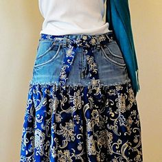 Paisley & Denim Short Jeans Skirt - Knee Length Blue Jeans Skirt