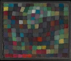 This painting is from Klee's Magic Square series, which grew out of a visit to Tunisia in 1914. Klee embraced the full power of abstraction by fractioning the landscape into squares, which seem to extend beyond the edges of the painting